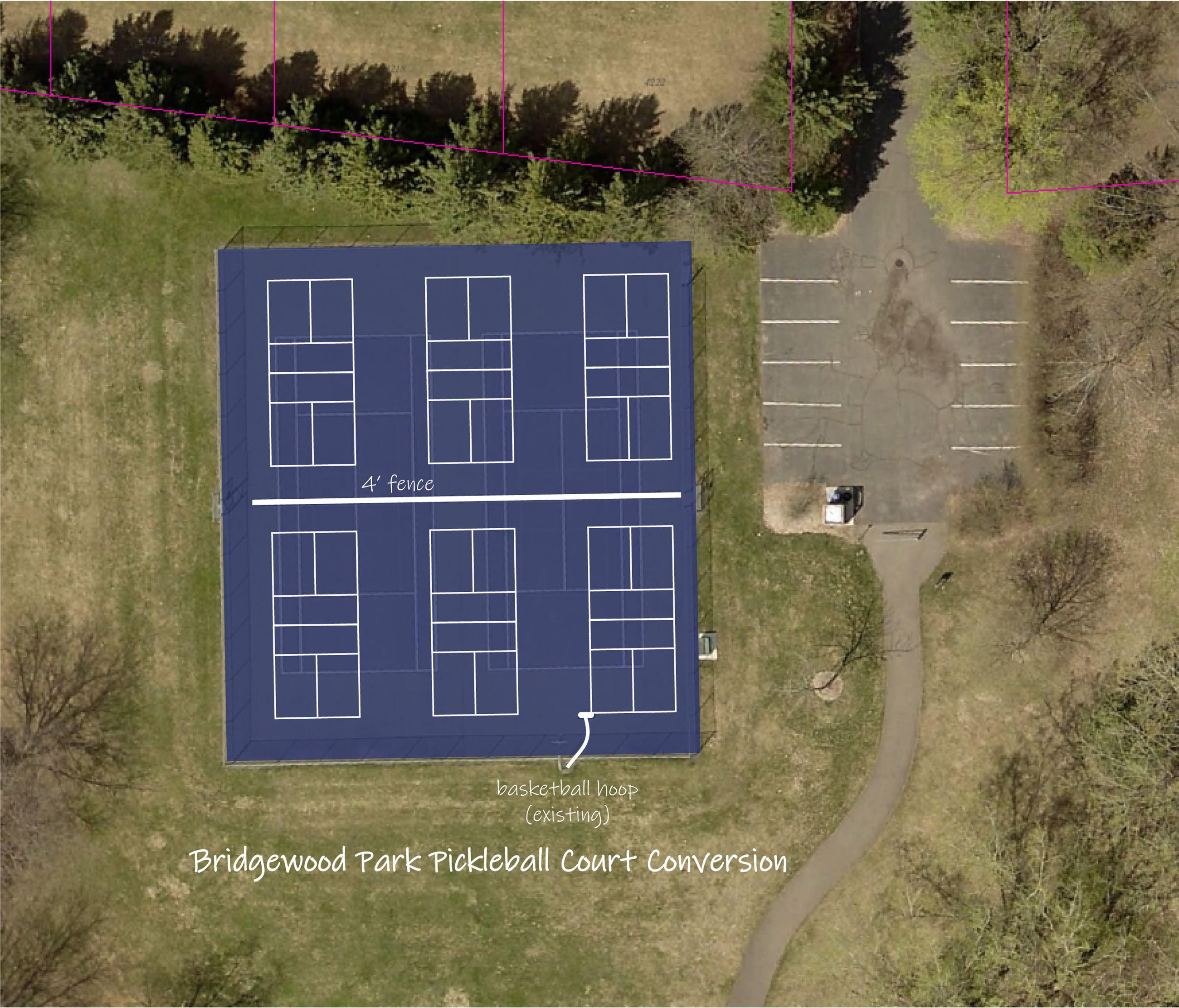 Representation of Bridgewood Pickleball Court conversion from tennis courts